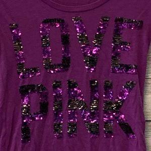 PINK Victoria's Secret Tops - PINK stripe sequin tee
